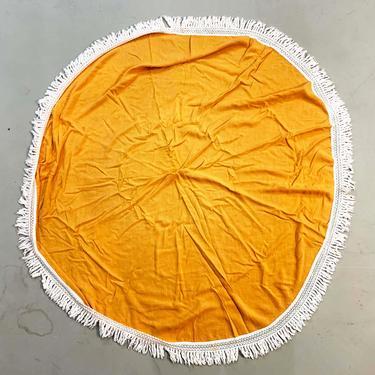 Vintage Orange Tablecloth Circle Mid-Century Round Round Table Cloth Dining Kitchen Handmade White Fringe Tassels Linen Boho Bohemian by CheckEngineVintage