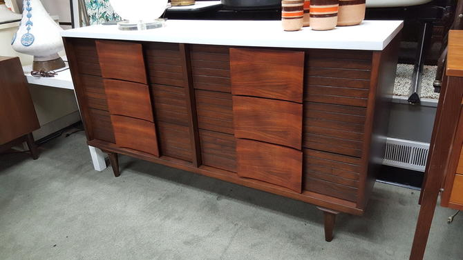 Mid Century American Walnut 6 Drawer Dresser With White Painted Top