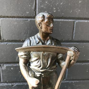 1950s German Bronze Sculpture Lamp Base Sickle WPA Vintage Antique Mid-Century Post-War Relic by BrainWashington