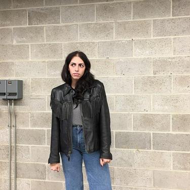 Vintage Fringe Leather Jacket Retro 1970s Branded Garments + Black + Size 42 + Motorcycle + Western + Zip Up + Made in USA + Unisex Apparel by RetrospectVintage215
