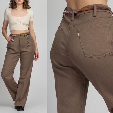 "70s Levi's Taupe High Waist Trousers - Men's Large, Women's XL, 35"" | Vintage Unisex Retro Straight Leg Pants by FlyingAppleVintage"