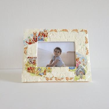 Vintage Bunnykins Mosaic Tile Frame, Hand Made 3x5 Childrens Photo Frame by CivilizedCrow