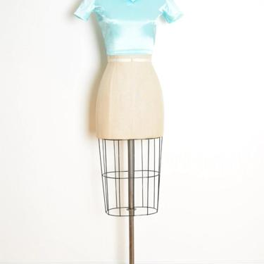 vintage 90s crop top pearly aqua blue raver shirt blouse tee collared XS S wet look shiny clothing by huncamuncavintage