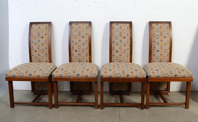 Frank Lloyd Wright Dining Chairs Mahogany Henredon Taliesin Set of Four Mid Century Modern by HearthsideHome