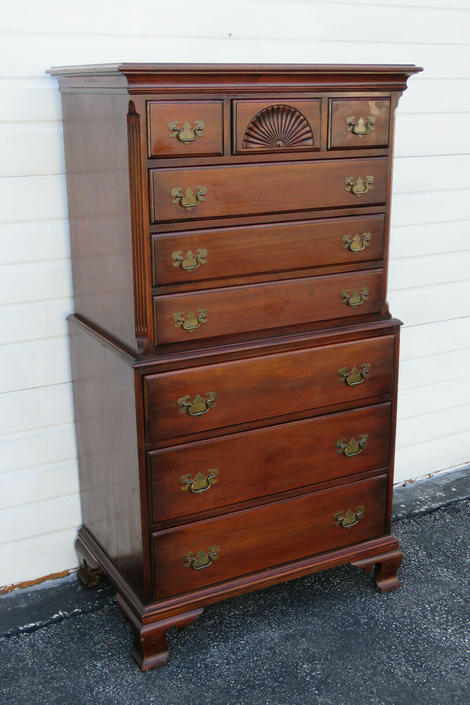 Solid Mahogany Extra Tall Chest of Drawers with Fan Accent by Davis 1312