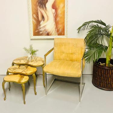Italian Onyx, Alabaster, Sediment Top and Brass  Nesting Tables, Hollywood Regency Italian Nesting Tables, Mid Century Side Tables by VivaLaVintagedotTX
