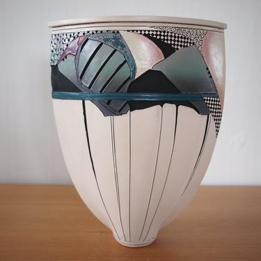 """Vintage Large ABSTRACT Post-MODERN VASE, 14"""" White Pink Blue, Mid-Century Modern Art studio pottery ceramic memphis eames knoll era by refugegallery"""