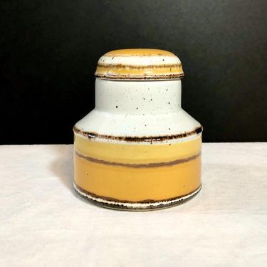 Vintage Midwinter Stonehenge Sugar Bowl, Jam Pot or Jelly Jar - Honey Pot, Canister, Sun pattern, Ceramic Stoneware, Yellow Rings, England by VenerablePastiche