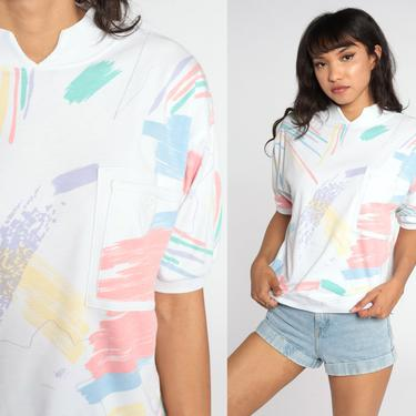 Brushstroke Shirt Slouchy Shirt 80s Short Sleeve Blouse Slouch Pastel Top White 1980s Retro Tee Vintage Medium Large by ShopExile