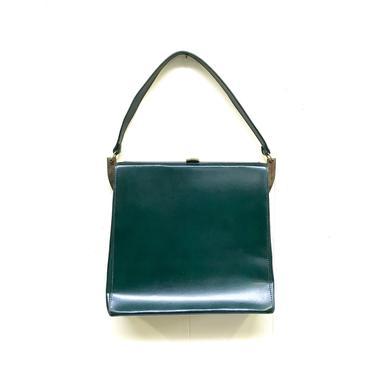 Vintage 1950s Green Leather Handbag, Mid-Century Top Handle Footed Purse by RanchQueenVintage