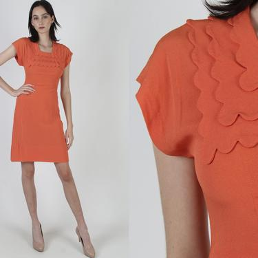 Scallop Tiered Collar Dress / 1950s Tangerine Rayon Cocktail Dress / Vintage 50s Casual Wiggle Mini Dress / Plain 40s Orange Office Dress by americanarchive