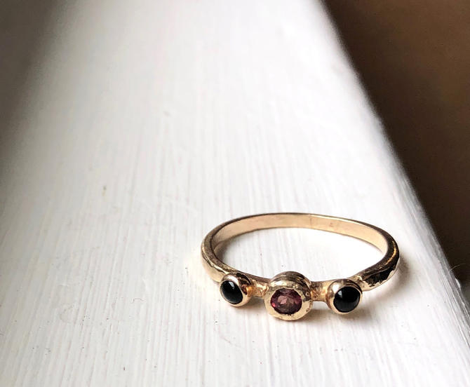 Pink Tourmaline and black onyx thee stone ring in 14k yellow gold by RachelPfefferDesigns