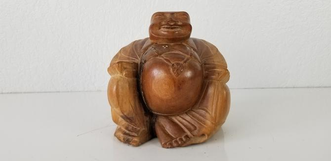 Vintage Hand Carved Wood Buddha Figurine . by MIAMIVINTAGEDECOR