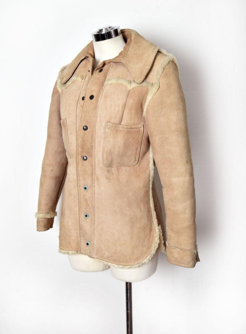 Vtg Sheep Fur Leather Jacket Vintage Shearling Coat 70 S