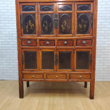 Antique Chinese 8 Door Cabinet with Painted and Gilded Designs