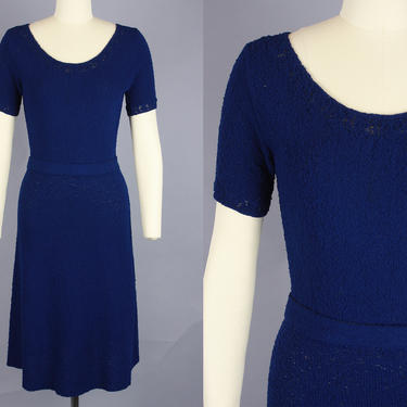 1950s NUBBY KNIT Dress | Vintage 40s 50s Dark Blue Short Sleeved Sweater Dress with Belt | small / medium by RelicVintageSF