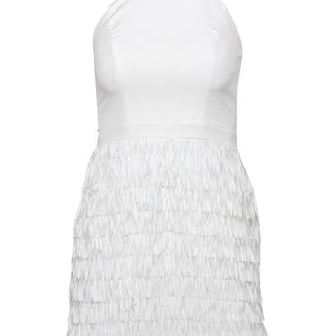 Aidan by Aidan Mattox - White Sleeveless Sheath Dress w/ Fringed Skirt Sz 0