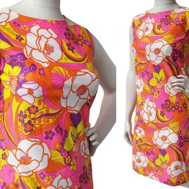 Vintage 60s Pink Dress Mod Floral Psychedelic Pop Art Mini S / M by MetroRetroVintage