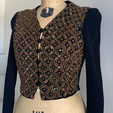 Beautiful 1930s Lined Cropped Sequined and Beaded Jacket Vintage 32 Bust by AmalgamatedShop