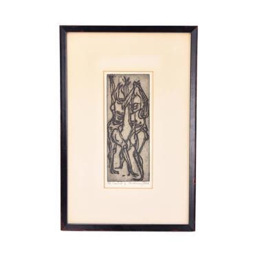 "Vintage ""The Combat"" Robert Browning Reed Abstracted Woodcut Print Indiana artist by PrairielandArt"
