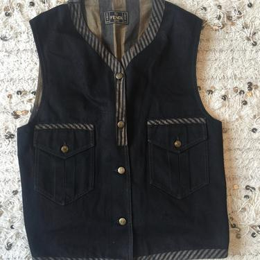 Vintage FENDI FF Zucca Pequin Stripes Print Monogram Womens Brown Black Vest Belted Jacket Dress Coat Trench  S M L by MoonStoneVintageLA