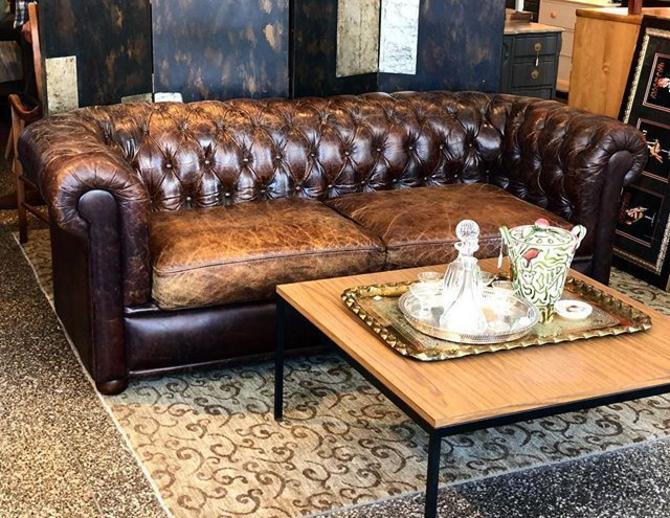 "Leather Chesterfield Sofa! 7' long X 35"" deep x 30"" tall"