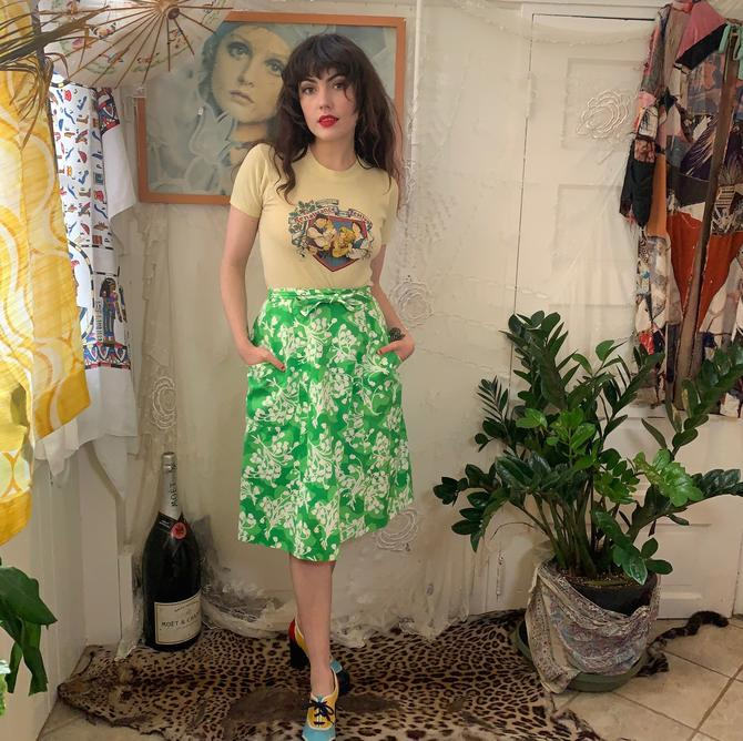 70's FLORAL WRAP SKIRT - green and white - pockets - high-waisted - small by GlamItToHell