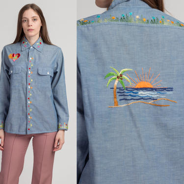 70s Boho Chambray Embroidered Shirt - Men's Medium   Vintage Blue Lightweight Button Up Floral Pocket Top by FlyingAppleVintage