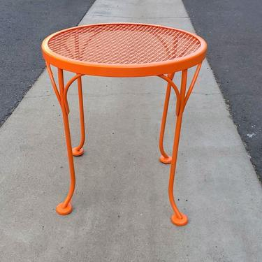 Mid Century Modern Vibrant Orange Small Stool Bench or End Table Side Table Entryway Vintage Metal Indoor Outdoor Furniture Living Room by MakingMidCenturyMod
