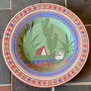 Vintage Mexican Pottery Charger by Walkingtan