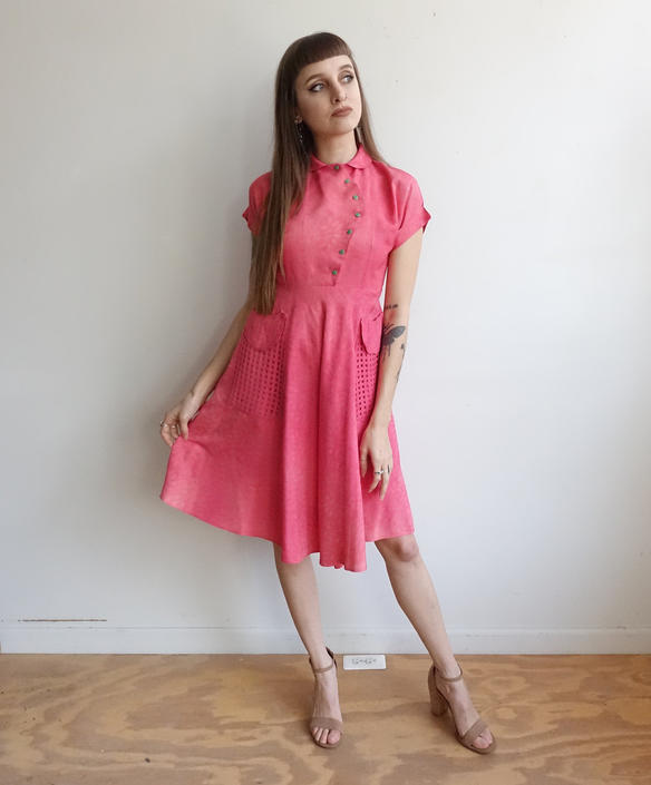 Vintage 40s Hot Pink Dress with Green Candy Dot Buttons and Open Weave Pockets/ 1940s Day Dress/ XS Small by bottleofbread
