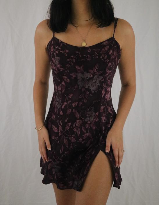 Vintage Dark Berry Purple Victoria's Secret Floral Silk Slip Dress - Large by LadyLVintageCo