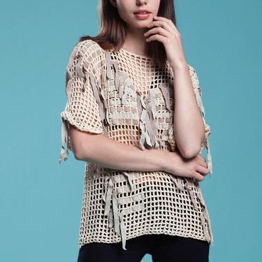 crochet top knit sweater blouse suede leather beige gray open basket weave Bonnie Boerer vintage 80s ONE SIZE S M L by shoprabbithole