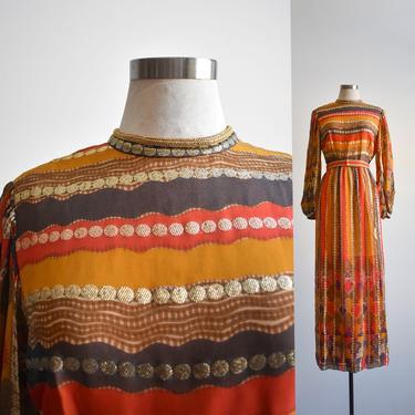 1970s Formal Gold & Orange Maxi Dress by milkandice