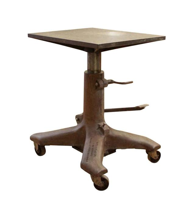 Industrial Cast Iron Adjustable Table with Casters