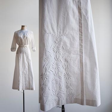 Antique Edwardian White Cotton Skirt by milkandice
