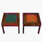 Two Walnut Accent Tables w/ a Cloisonné Inset, Blue & Orange