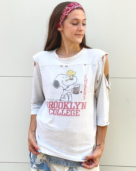 Snoopy Brooklyn College Thrashed Tee