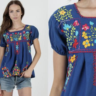 Womens Royal Blue Hand Embroidered Cotton Mexican Puff Sleeve Tunic Blouse by americanarchive