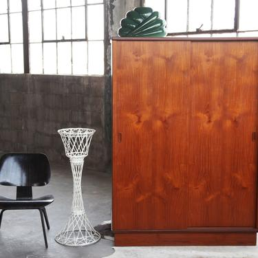 BEAUTIFUL 1960s Mid Century Freestanding Teak Armoire Wardrobe storage Danish Modern MCM Made in Denmark Scandinavian by CatchMyDriftVintage