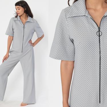 70s Jumpsuit Grey Bell Bottom Pants Boho Hippie Deep V Neck Front Zip Up Disco Bohemian Blue Vintage Pantsuit Short Sleeve Medium Large Tall by ShopExile