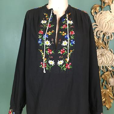 1970s blouse, embroidered tunic, vintage 70s blouse, Hungarian style, flower embroidery, medium large, black cotton, bohemian, Mexican, 38 by BlackLabelVintageWA