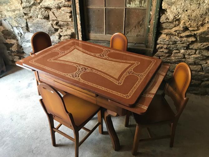 Antique enamel top kitchen table porcelain and enamel top table by  VintaDelphia