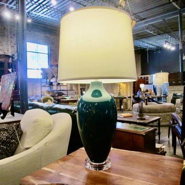 GREEN ENAMEL LAMP ON LUCITE BASE