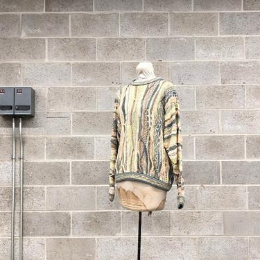 Vintage Coogi Sweater Retro Unisex Size M White + Blue + Green Yellow Tan Knit Long Sleeve Crew Neck Pullover Australia Fall Winter Fashion by RetrospectVintage215