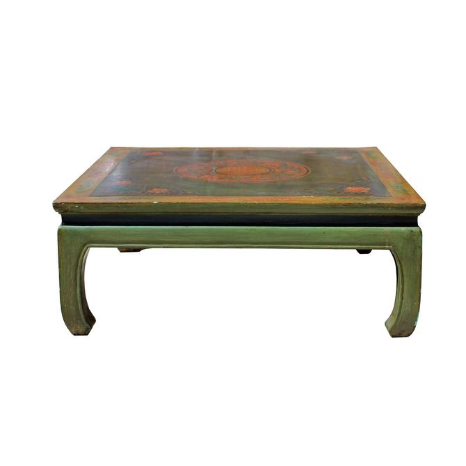 Chinese Distressed Lime Green Flower Graphic Square Coffee Table cs5322S