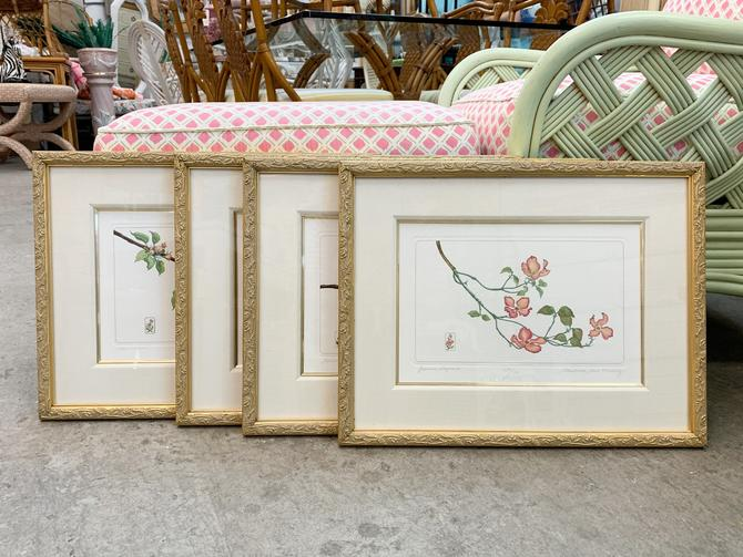 Set of Four Floral Prints by Charolette Ann Meckley