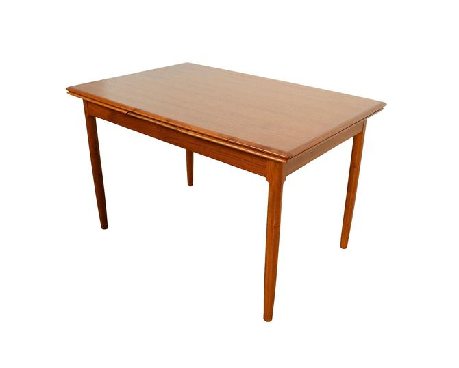 Teak Dining Table with 2 leaves Surfboard Top Danish Modern Mid Century Modern by HearthsideHome