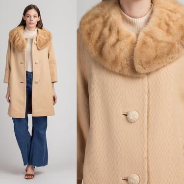 50s 60s Fur Trim Swing Coat - Medium | Vintage Forstmann Mod Wool Button Up Jacket by FlyingAppleVintage