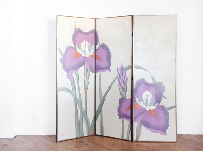 Vintage Room Divider Hollywood Regency Floral Iris Painted Folding Screen 80s California Look by 330Modern